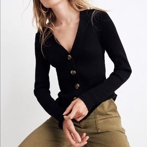 Madewell Shrunken Ribbed Cardigan Sweater S